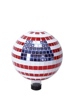 """10"""" American Flag Gazing Globe.  Liven up your outdoors with our amazing gazing globe collection for an enchanting and colorful display. Use them as an accent to your patio or move them out in to the garden to creat a perfect centerpiece for your favorite outdoor setting. #patriotic #gardendecor #yarddecor"""
