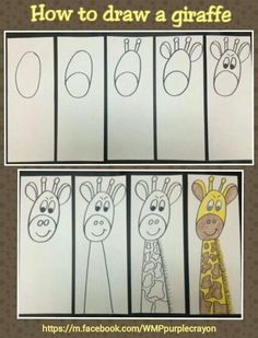 zoo animal crafts for kids activities fun Art Drawings For Kids, Easy Drawings, Art For Kids, Crafts For Kids, Easy Drawing For Kids, Kindergarten Art, Preschool Art, Drawing Lessons, Art Lessons