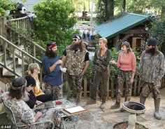 Hit show: Duck Dynasty viewers know Jep - born Jules Jeptha Robertson - as the youngest of Phil and Miss Kay (pictured far left) Robertson's sons Camo Family Pictures, Deer Pictures, Funny Pictures, Willie Robertson, Robertson Family, Phil Kay, Jep And Jessica, Duck Dynasty Cast, Psych Memes