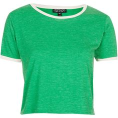 TOPSHOP Contrast Trim Cropped Tee ($15) ❤ liked on Polyvore featuring tops, t-shirts, shirts, crop tops, emerald, topshop shirts, contrast trim t shirt, crop shirt, short sleeve tops and green crop top