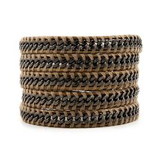 Chan Luu Gunmetal Chain Wrap Bracelet on Kansa Leather and Beige Thread