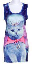 Blue Sleeveless Galaxy Cat Print Vest $19.35 #SheInside