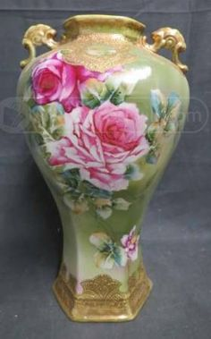 Antique Nippon Hand Painted Green Floral Vase