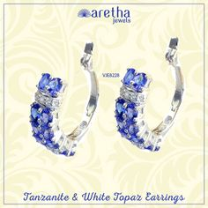 Tanzanite & White Topaz Earrings Made with 925 Sterling Silver  Product Code - VJE8228 (Buy now for just - Rs 7103) #ArethaJewels #earrings #jewellery #jewelry #realjewellery #traditionalrings #bridaljewellery