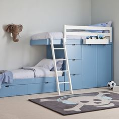 Kids Train Bed with Wardrobe Storage Boy Room, Kids Room, Bed With Wardrobe, Girls Bedroom, Bedroom Decor, Bedroom Ideas, Bunk Bed Designs, Kids Bunk Beds, Awesome Bedrooms