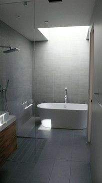 Bathroom | Modern, tile, tub, shower, grey
