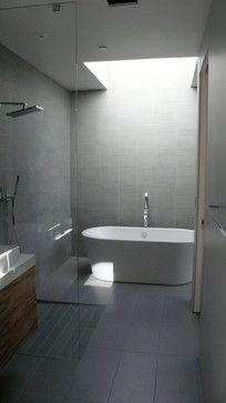 Bathroom | Modern, tile, tub, shower, grey