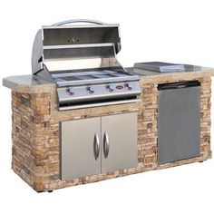 Outdoor Grill Island With Lynx Grill And Side Burner On