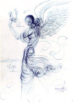 Angel by Salvador Dali, Blue Ball Point Pen Drawing Salvador Dali Paintings, Collage Artwork, Visionary Art, Pen Art, Surreal Art, Artist Art, Art Drawings, Art Sketches, Illustration Art