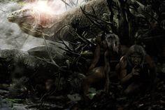 Unos Homo floresiensis se resguardan de un dragón de Komodo, por Velizar Simeonovski