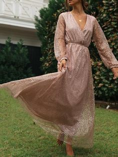 V-Neck Shiny Long-Sleeved Dress – ebuytide Floral Print Maxi Dress, Lace Collar, Vacation Dresses, Fashion Outfits, Womens Fashion, Dress Brands, Sleeved Dress, What To Wear, Evening Dresses