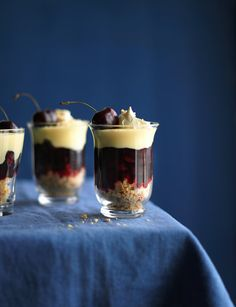 Cherry amaretti trifles from Sunil Vijayakar. Ready in 10 minutes, these trifles are sure to impress. Perfect for a small dinner party dessert