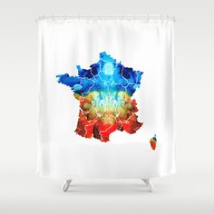 Buy Shower Curtains featuring France - European Map by Sharon Cummings by Sharon Cummings. Made from 100% easy care polyester our designer shower curtains are printed in the USA and feature a 12 button-hole top for simple hanging.