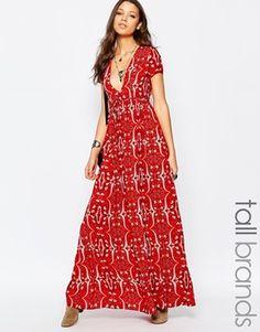 Glamorous Tall Paisley Print Plunge Front Tea Dress