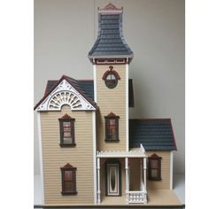 The Hamlin Victorian dollhouse kit is laser cut for precision piecing and measures wide X deep and tall. It is cut from Baltic birch plywood. Dollhouse Kits, Victorian Dollhouse, Dollhouse Miniatures, Baltic Birch Plywood, Hamilton, Scale, Free Shipping, Mansions, House Styles