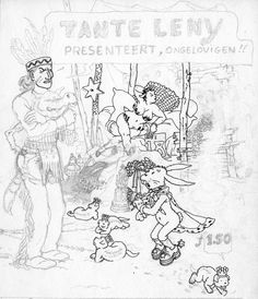 "Unfinished cover drawing by Marc Smeets for 'Tante Leny Presenteert' #18, early 1975. Evert Geradts used some of the inked elements in his layout for TLP #19 (""Aunt Leny's Little Library""), September 1975. https://www.facebook.com/A4-Comix-Marc-Smeets-164212777028780/"