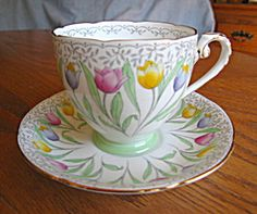 For sale on-line at More Than McCoy on TIAS; Royal Grafton tulip teacup, c:1949 at www.morethanmccoy.com