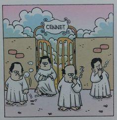 Cennetde sigara içenler :)) #karikatür #mizah #matrak #komik #espri #şaka #gırgır #komiksözler