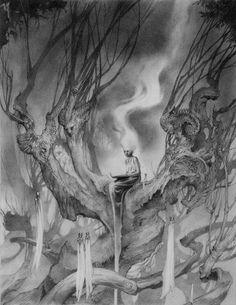Obra de Allen Williams, uno de los ilustradores de la exposición 'Lined in Lead: Works in Graphite' ('Revestido de mina: trabajos en grafito'), en la galería Nucleus