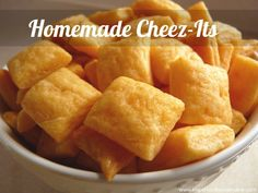 Cheez-Its Recipe Recipe needs to be de-glutenized. Maybe just a gf flour blend plus a teaspoon or so of psyllium husk.Recipe needs to be de-glutenized. Maybe just a gf flour blend plus a teaspoon or so of psyllium husk. Baby Food Recipes, Snack Recipes, Cooking Recipes, Thm Recipes, Cooking Ideas, Cheez It Recipe, Recipe Recipe, Homemade Cheez Its, Homemade Cheese
