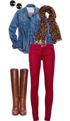 Animal print scarf, button front jean shirt, red skinny jeans for pop of color & brown leather knee boots. Sweet combo!