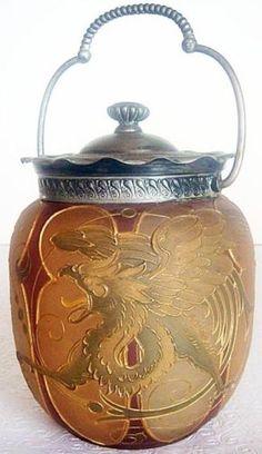 Mt Washington Royal Flemish Glass Biscuit Jar Mythologica Griffin Dolphin (#4823