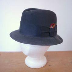 2b8c2914ff72cf Vintage 50s Charles KNOX Wool Felt Grosgrain Ribbon Band Navy Fedora Hat Cap  7 Men's Hats
