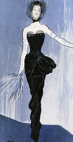 Illustration by Renè Gruau of a Fath gown for Femina, November 1946