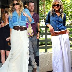 Jean shirt & long white skirt with big leather belt & aviators of course :)