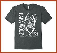 Mens Papa Wolf Shirt - Papa Wolf Head of the Pack T-Shirt Large Dark Heather - Animal shirts (*Partner-Link)
