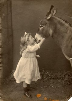 Little girl kissing a donkey nose Vintage Children Photos, Vintage Pictures, Old Pictures, Old Photos, Animal Pictures, Cute Pictures, Animals And Pets, Baby Animals, Funny Animals