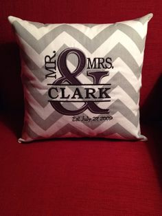 """Mr. and  Mrs. Appliqued Monogrammed Personalized Pillow Cover - 12"""" - Custom on Etsy, $27.00"""