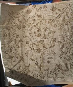 TRAPUNTO WHITEWORK TENDRILS AND VINES ANTIQUE QUILT, delicate imagery