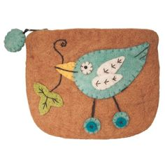 The purse is made with 100% natural wool and non-toxic, azo-free dyes. The hand felting and applique details on this 5 inches by 3.5 inch purse is done by a women's felting business in Kathmandu, Nepa