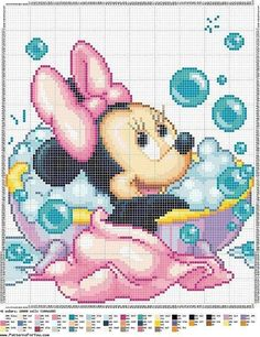 Disney Minnie Mouse Bathtime - possible birth announcement Disney Cross Stitch Patterns, Cross Stitch For Kids, Cross Stitch Baby, Modern Cross Stitch, Cross Stitch Charts, Cross Stitch Designs, Cross Stitching, Cross Stitch Embroidery, Embroidery Patterns