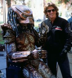 Kevin Peter Hall on set predator 2