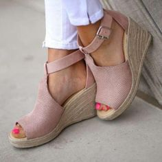 d736f0fc25bd Women Chic Espadrille Wedges Sandals with Adjustable Buckle – judedress