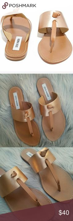 Steve Madden Rose Gold Olivia Leather Sandals- 8 New without box/tags. Never worn. Size 8.  The Steve Madden Olivia Sandals feature a leather upper with a open toe . The rubber outsole lends lasting traction and wear. Steve Madden Shoes Sandals