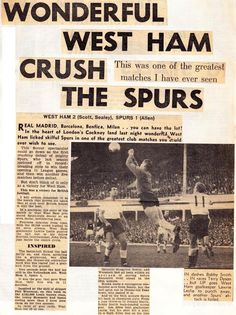 West Ham 2 Tottenham 1 in Dec 1967 at Upton Park. A newspaper report on the Division clash. Bobby Moore, West Ham United Fc, Green Street, The Unit, Newspaper Report, Sports Bars, Football, Irons, Division