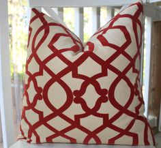 Designer Decorative Pillow - Red Geometric Pillow Iman Scroll Trellis Pillow - 24 x 24 - Throw Pillow. $48.00, via Etsy.