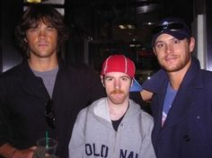 Jared and Jensen candid with a fan