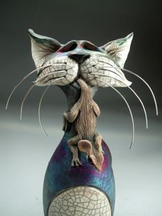 Cat and Mouse Sculpture Pottery Raku Art by Face Jug Maker Mitchell Grafton | eBay