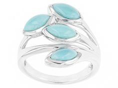 8x4mm Marquise Turquoise Cabochon Stelring Silver 4-stone Ring