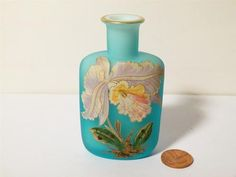 Antique Blue Opaque Frosted GLASS Scent Bottle Hand Painted ORCHID Flower | eBay