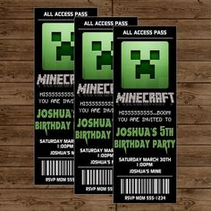 Minecraft Ticket Invitation - Minecraft Birthday Party - DIY Printable