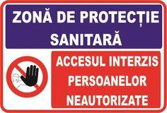 Indicator de securitate cu semne combinate Zona de protectie sanitara