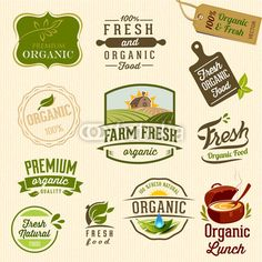 Vector: Set of Fresh Organic labels and elements