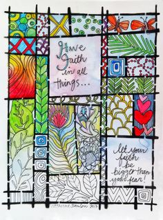 """9"""" x 12"""" Art Journal page using """"CSSTL-003 Grid Art Journal Stencil"""" by Catherine Scanlon for Art Gone Wild! and Friends"""