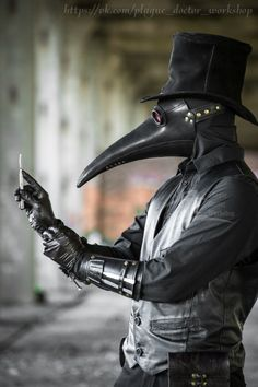 Plauge Doctor, Doctor Mask, Black Outfit Men, Scp 049, Steampunk Hairstyles, Plague Mask, Bird Masks, Arte Obscura, Dark Photography