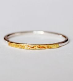 Thin Reticulated Brass Ring With a sterling silver band